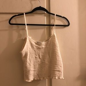 White Scrunchie tank top from Brandy Melville.